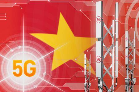 Vietnam 5G network industrial illustration, huge cellular tower or mast on hi-tech background with the flag - 3D Illustration Imagens