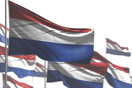pretty feast flag 3d illustration  - many Netherlands flags are wave isolated on white - picture with soft focus