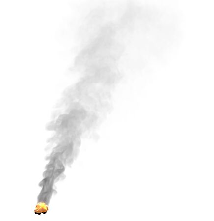glowing hiking camp fire place with heavy black smoke isolated on white background, design fire 3D illustration