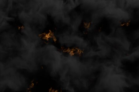 Flames on background and heavy smoking clouds above the melting fireplace - fire 3D illustration