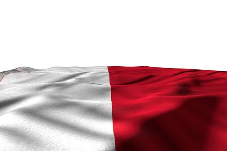 wonderful mockup photo of Malta flag lay with perspective view isolated on white with space for your content - any celebration flag 3d illustration