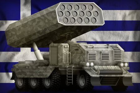 rocket artillery, missile launcher with grey camouflage on the Greece flag background. 3d Illustration