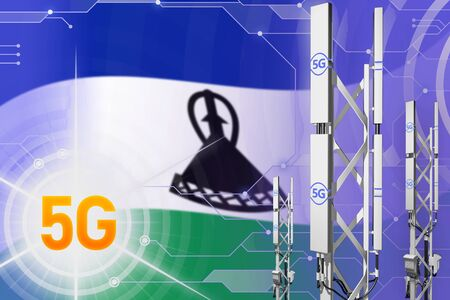 Lesotho 5G network industrial illustration, large cellular tower or mast on hi-tech background with the flag - 3D Illustration