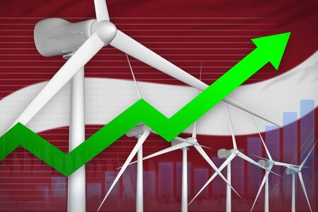 Latvia wind energy power rising chart, arrow up  - renewable energy industrial illustration. 3D Illustration