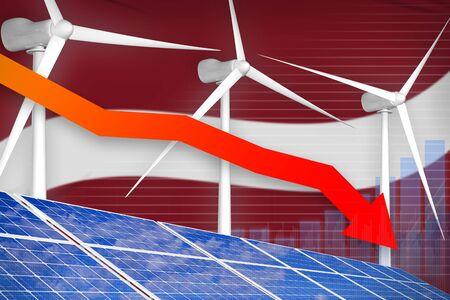 Latvia solar and wind energy lowering chart, arrow down  - renewable energy industrial illustration. 3D Illustration