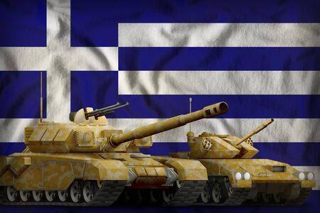 tanks with orange camouflage on the Greece flag background. Greece tank forces concept. 3d Illustration Banco de Imagens