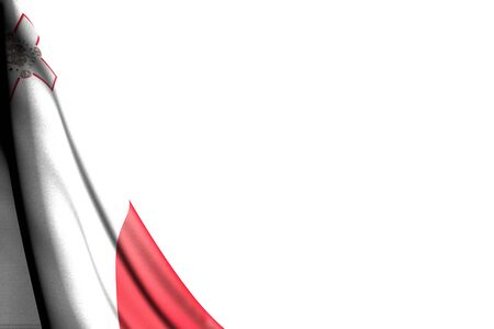 cute feast flag 3d illustration  - isolated image of Malta flag hanging diagonal - mockup on white with place for content