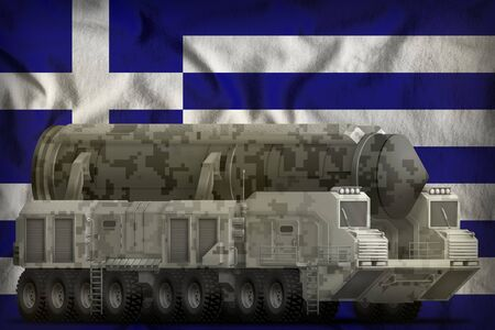 intercontinental ballistic missile with city camouflage on the Greece flag background. 3d Illustration