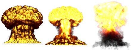 3 big very detailed different phases mushroom cloud explosion of nuclear bomb with smoke and fire isolated on white - 3D illustration of explosion