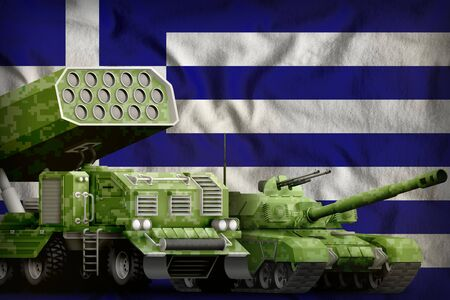 tank and missile launcher with summer pixel camouflage on the Greece flag background. Greece heavy military armored vehicles concept. 3d Illustration