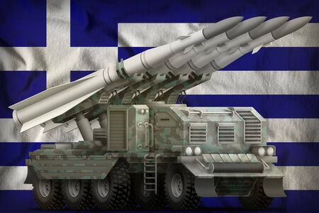 tactical short range ballistic missile with arctic camouflage on the Greece flag background. 3d Illustration