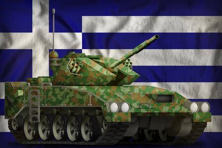 light tank apc with summer camouflage on the Greece flag background. 3d Illustration Banco de Imagens