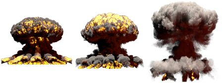 3 large different phases fire mushroom cloud explosion of hydrogen bomb with smoke and flames isolated on white - 3D illustration of explosion