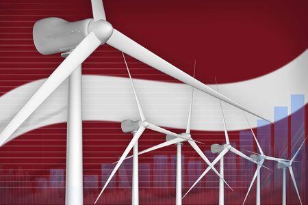 Latvia wind energy power digital graph concept  - environmental energy industrial illustration. 3D Illustration