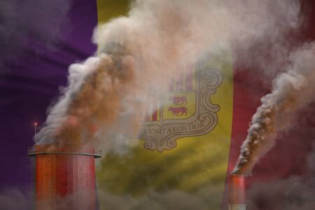 heavy smoke of industrial pipes on Andorra flag - global warming concept, background with place for your text - industrial 3D illustration