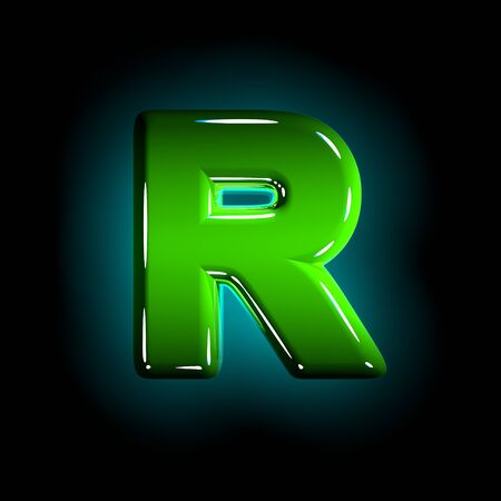 Green letter R of polished plastic alphabet of white and yellow colors isolated on black color - 3D illustration of symbols