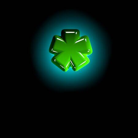 shining green plastic creative font - asterisk isolated on black background, 3D illustration of symbols