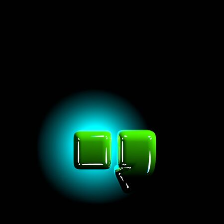 shine green plastic design font - period (full stop) and comma isolated on black background, 3D illustration of symbols