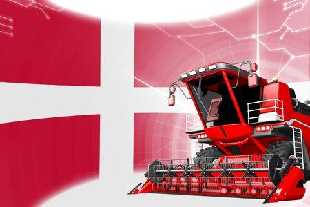Digital industrial 3D illustration of red advanced rye combine harvester on Denmark flag - agriculture equipment innovation concept