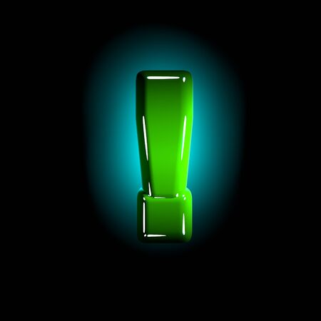 glossy green plastic creative alphabet - exclamation point isolated on black background, 3D illustration of symbols Фото со стока