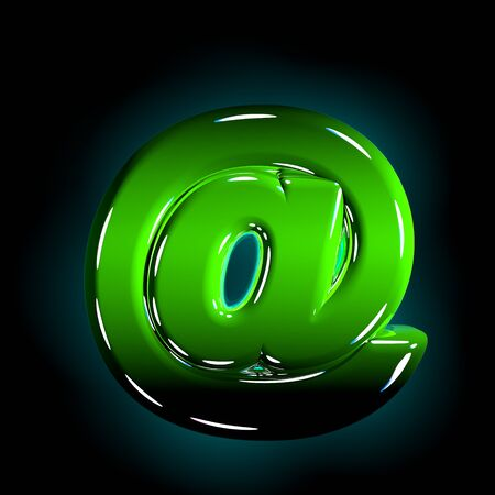Green at sign of shine plastic alphabet of white and yellow colors isolated on black color - 3D illustration of symbols