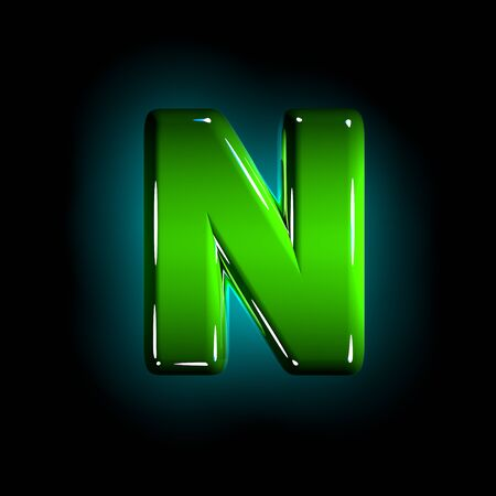 Green letter N of shining plastic alphabet of white and yellow colors isolated on black color - 3D illustration of symbols