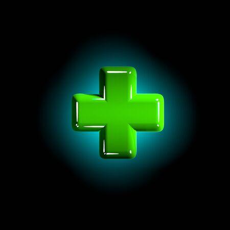 glanzend groen plastic ontwerplettertype - plus geïsoleerd op zwarte achtergrond, 3D illustratie van symbolen