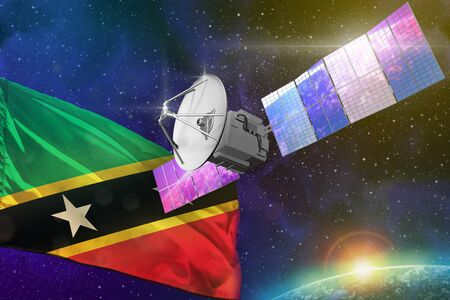 Satellite with Saint Kitts and Nevis flag, space communications technology concept - 3D Illustration Banco de Imagens