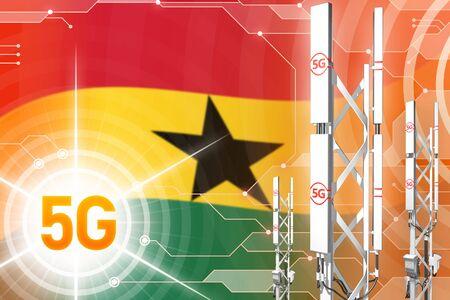 Ghana 5G network industrial illustration, big cellular tower or mast on modern background with the flag - 3D Illustration