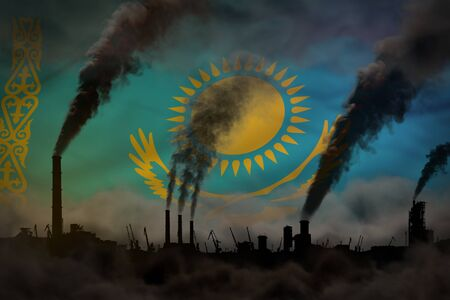 Dark pollution, fight against climate change concept - industrial 3D illustration of plant pipes dense smoke on Kazakhstan flag background