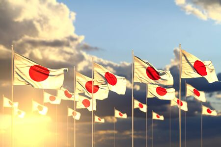 wonderful holiday flag 3d illustration  - many Japan flags on sunset placed in row with selective focus and place for content