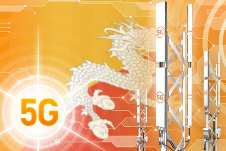 Bhutan 5G network industrial illustration, huge cellular tower or mast on hi-tech background with the flag - 3D Illustration