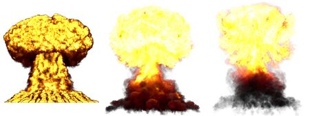 3 big very high detailed different phases mushroom cloud explosion of hydrogen bomb with smoke and fire isolated on white - 3D illustration of explosion Imagens