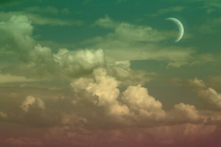 nice unreal colorful fantasy cumulus partially cloudy sky for using as background in design.