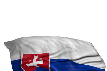 pretty celebration flag 3d illustration  - Slovakia flag with big folds lie in the bottom isolated on white