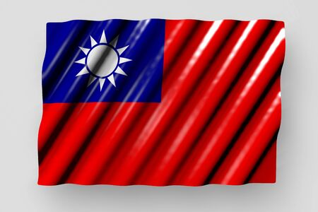 wonderful national holiday flag 3d illustration  - shiny flag of Taiwan Province of China with large folds lie isolated on grey
