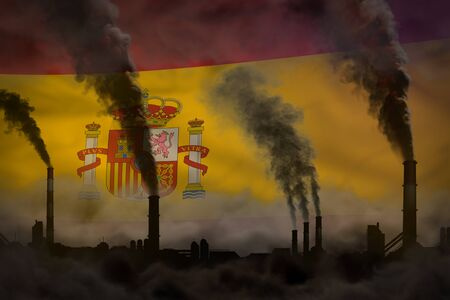 Dark pollution, fight against climate change concept - factory pipes dense smoke on Spain flag background - industrial 3D illustration 版權商用圖片