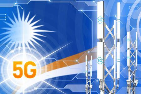 Marshall Islands 5G network industrial illustration, huge cellular tower or mast on modern background with the flag - 3D Illustration