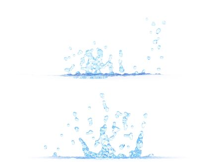 2 side views of pretty water splash - 3D illustration, mockup isolated on white - for design purposes