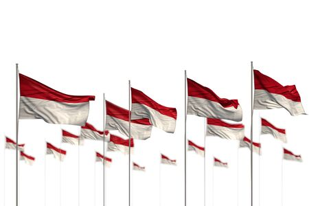 beautiful independence day flag 3d illustration  - Monaco isolated flags placed in row with soft focus and place for your content