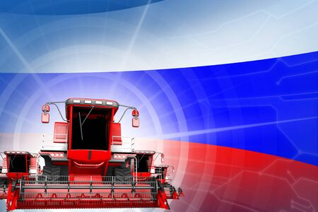 Farm machinery modernisation concept, red modern farm combine harvesters on Russia flag - digital industrial 3D illustration