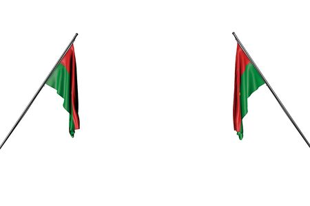 nice holiday flag 3d illustration  - two Burkina Faso flags hanging on in corner poles from two sides isolated on white