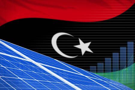 Libya solar energy power digital graph concept  - modern energy industrial illustration. 3D Illustration Imagens