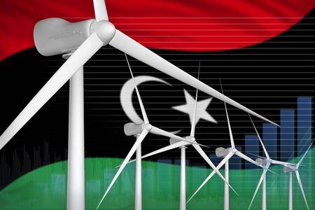 Libya wind energy power digital graph concept  - green energy industrial illustration. 3D Illustration