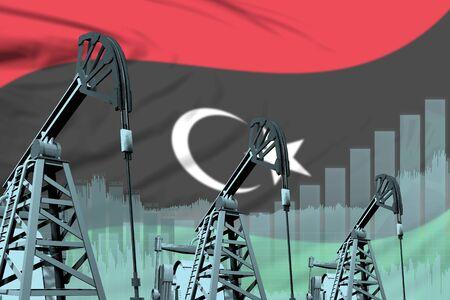 Libya oil and petrol industry concept, industrial illustration on Libya flag background. 3D Illustration