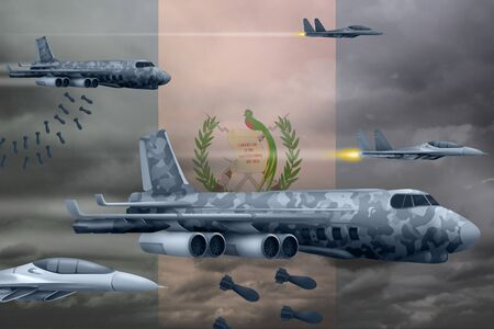 Guatemala bomb air strike concept. Modern Guatemala war airplanes bombing on flag background. 3d Illustration Stockfoto - 129532999