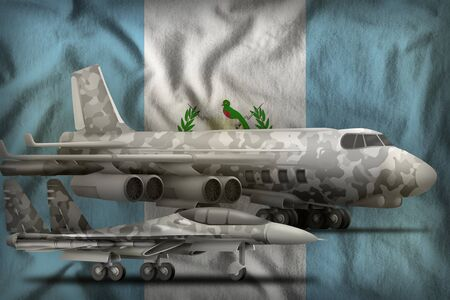 air forces with grey camouflage on the Guatemala flag background. Guatemala air forces concept. 3d Illustration