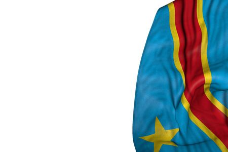 cute day of flag 3d illustration  - Democratic Republic of Congo flag with large folds lie in left side isolated on white
