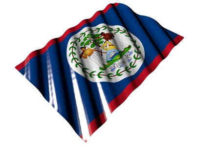 cute shiny flag of Belize with big folds lying isolated on white - any celebration flag 3d illustration