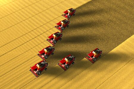 Many red wheat harvesters work on the large golden field - view from above in aerial shooting style, industrial 3D illustration